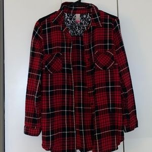 Red and black flannel with small lace back